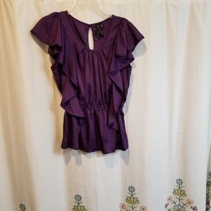 Royal purple peplum ruffled top